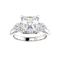 The Tina Asscher Moissanite Engagement Threestone Ring Setting White Gold