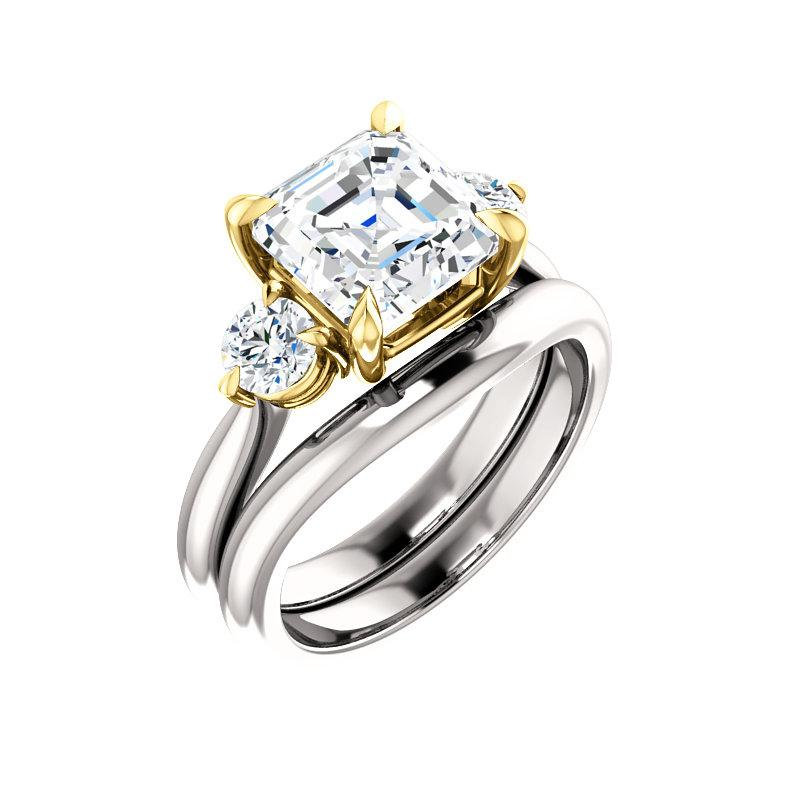 The Tina Asscher Moissanite Engagement Threestone Ring Setting White Gold With Matching Band