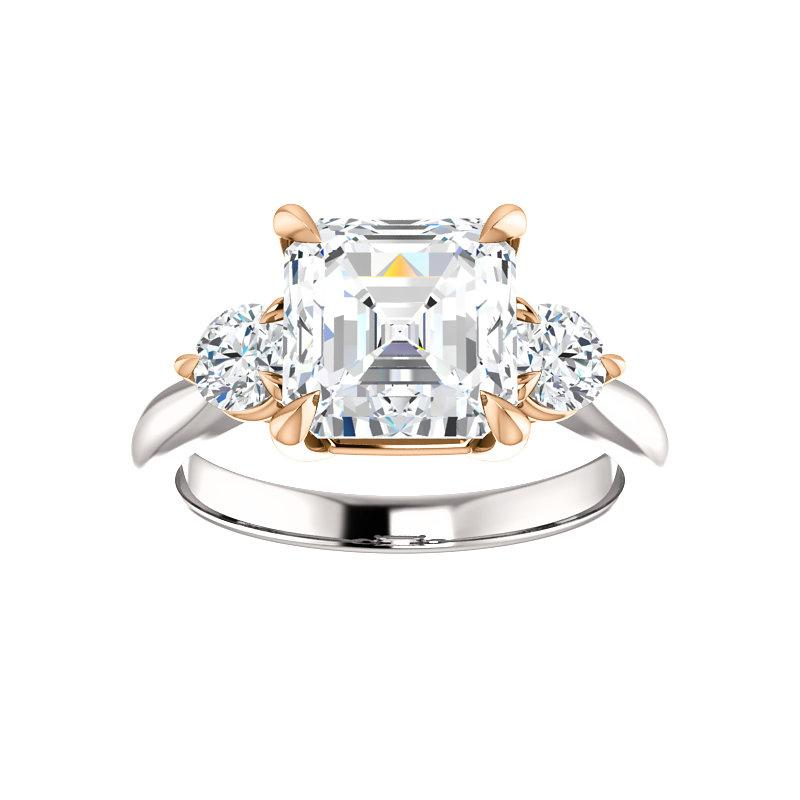 The Tina Asscher Moissanite Engagement Threestone Ring Setting In White Gold with Rose Gold Prongs