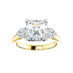 The Tina Asscher Moissanite Engagement Threestone Ring Setting Yellow Gold with White Prongs