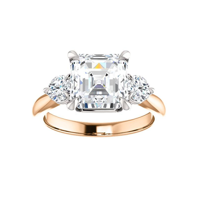 The Tina Asscher Moissanite Engagement Threestone Ring Setting Rose Gold with White Prongs