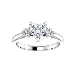 The Tina Heart Moissanite Engagement Threestone Ring Setting White Gold