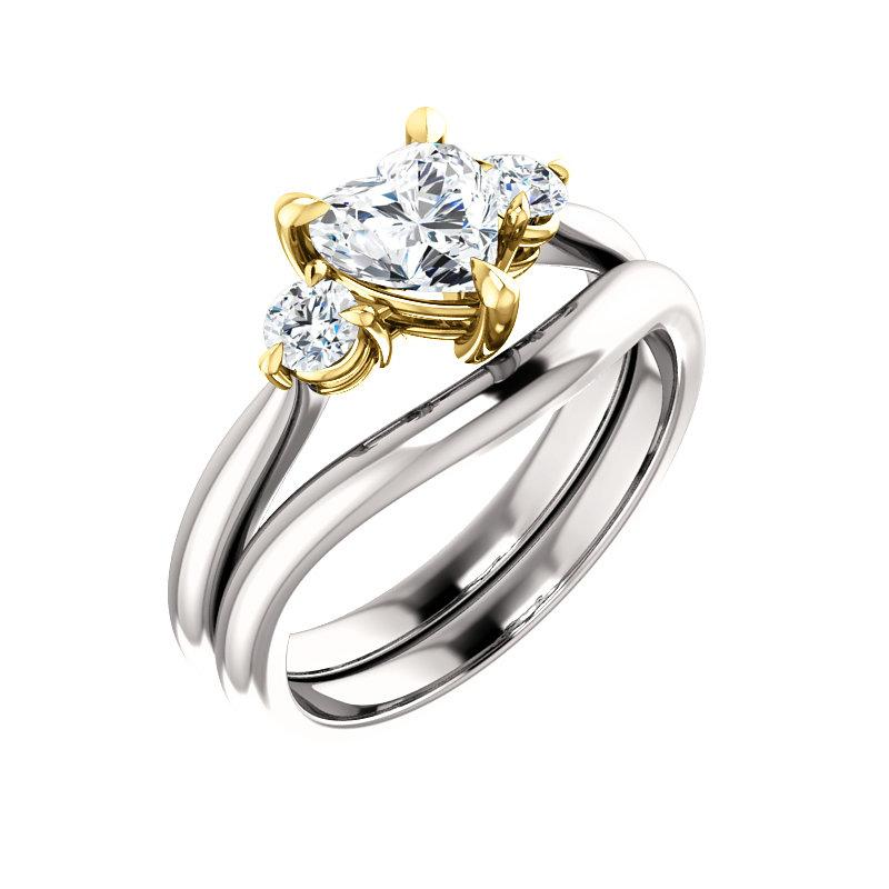 The Tina Heart Moissanite Engagement Threestone Ring Setting White Gold With Matching Band