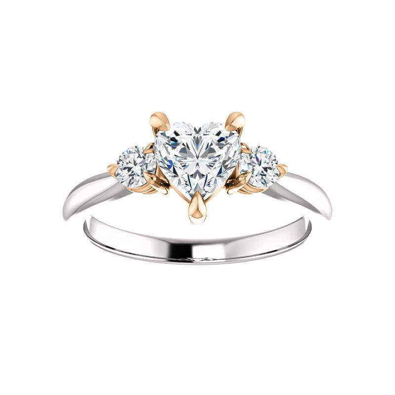The Tina Heart Moissanite Engagement Threestone Ring Setting In White Gold with Rose Gold Prongs