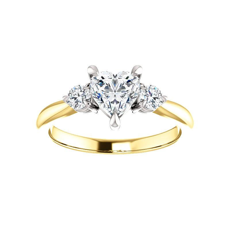 The Tina Heart Moissanite Engagement Threestone Ring Setting Yellow Gold with White Prongs