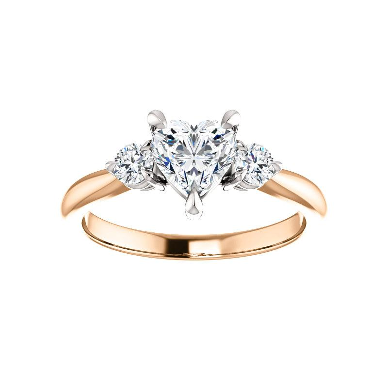 The Tina Heart Moissanite Engagement Threestone Ring Setting Rose Gold with White Prongs