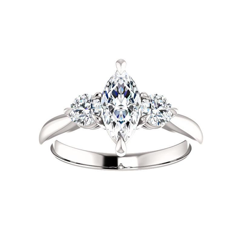 The Tina Marquise Moissanite Engagement Threestone Ring Setting White Gold
