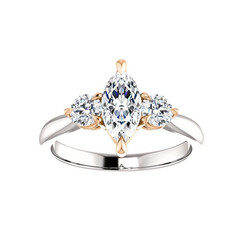 The Tina Marquise Moissanite Engagement Threestone Ring Setting In White Gold with Rose Gold Prongs