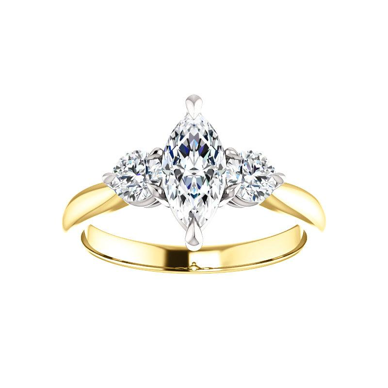 The Tina Marquise Moissanite Engagement Threestone Ring Setting Yellow Gold with White Prongs