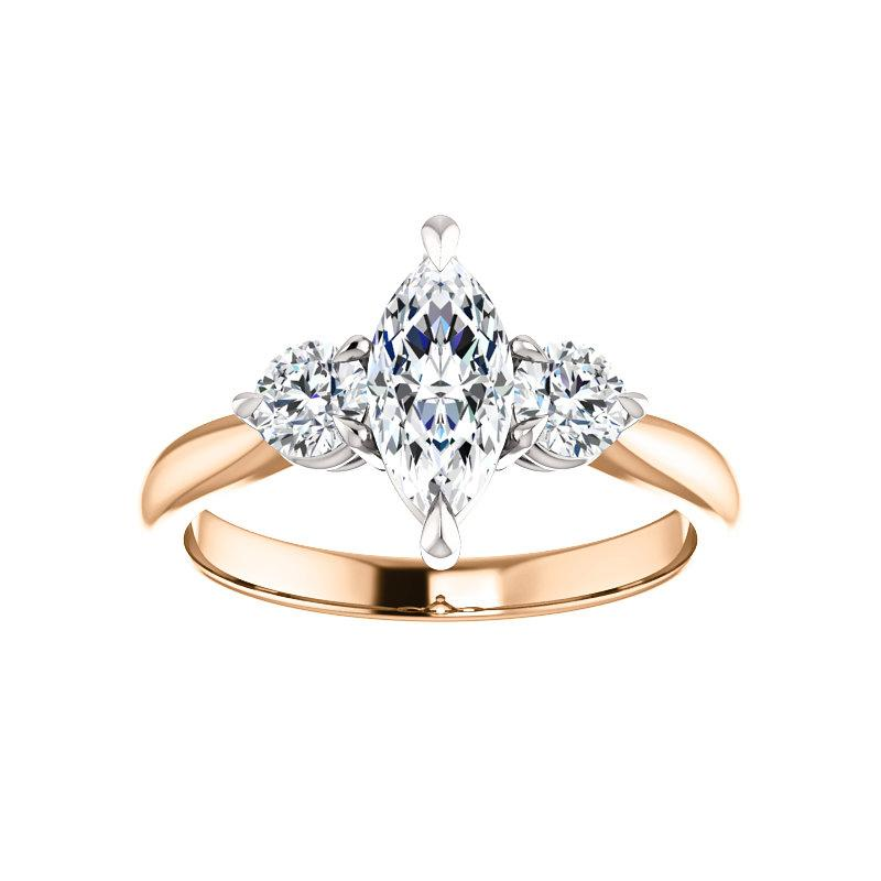 The Tina Marquise Moissanite Engagement Threestone Ring Setting Rose Gold with White Prongs