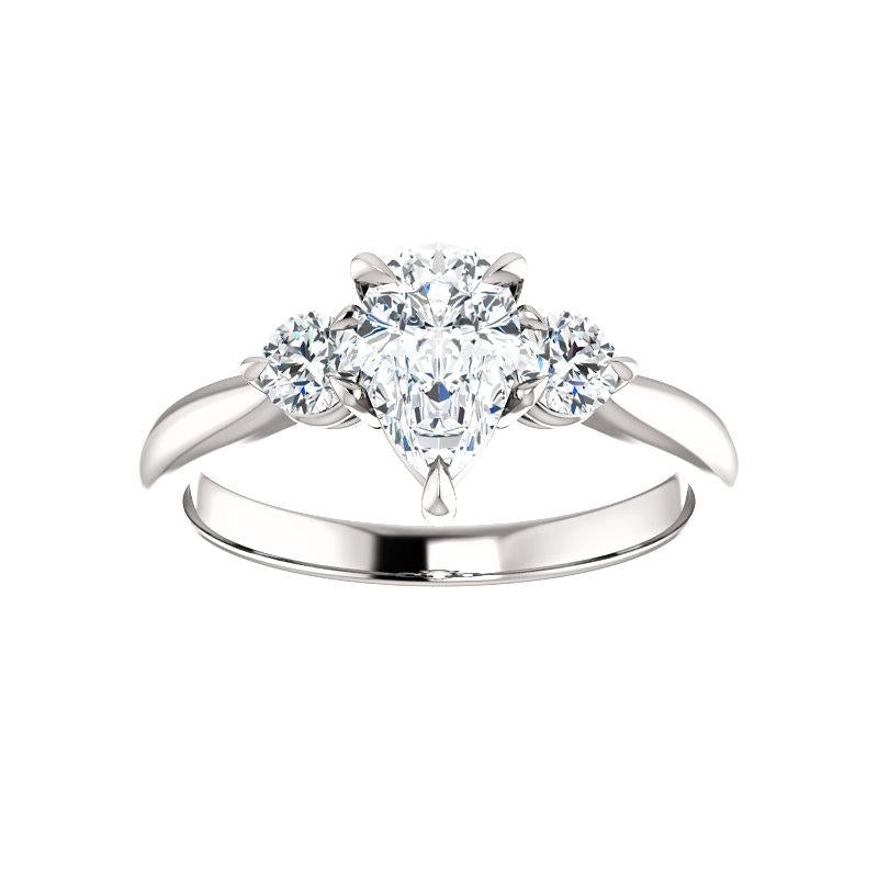 The Tina Pear Moissanite Engagement Threestone Ring Setting White Gold