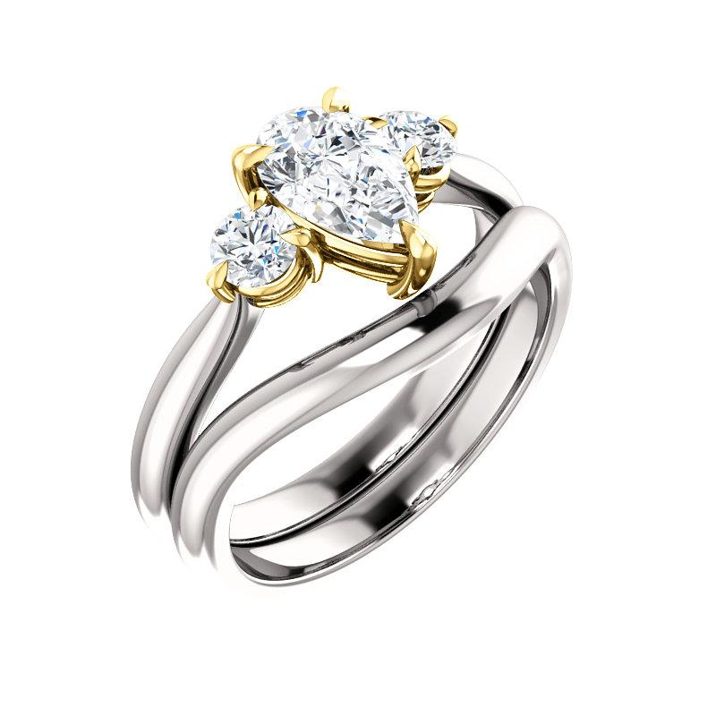 The Tina Pear Moissanite Engagement Threestone Ring Setting White Gold With Matching Band