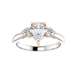 The Tina Pear Moissanite Engagement Threestone Ring Setting In White Gold with Rose Gold Prongs