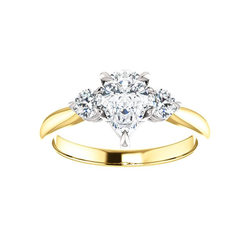 The Tina Pear Moissanite Engagement Threestone Ring Setting Yellow Gold with White Prongs