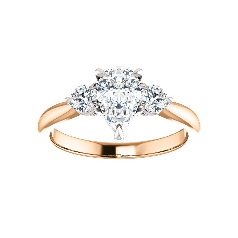 The Tina Pear Moissanite Engagement Threestone Ring Setting Rose Gold with White Prongs