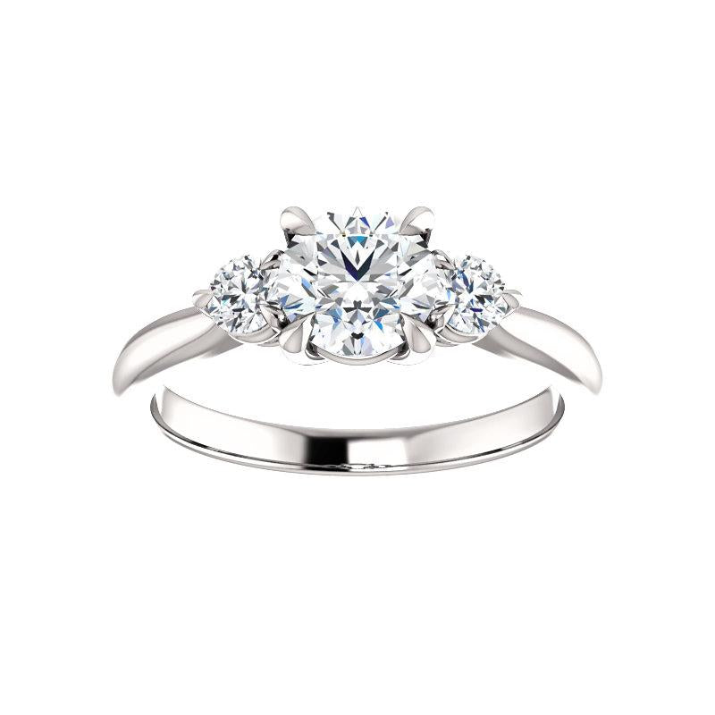 The Tina Round Moissanite Engagement Threestone Ring Setting White Gold