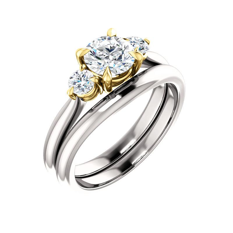 The Tina Round Moissanite Engagement Threestone Ring Setting White Gold With Matching Band
