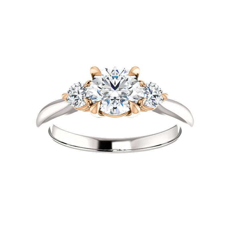 The Tina Round Moissanite Engagement Threestone Ring Setting In White Gold with Rose Gold Prongs