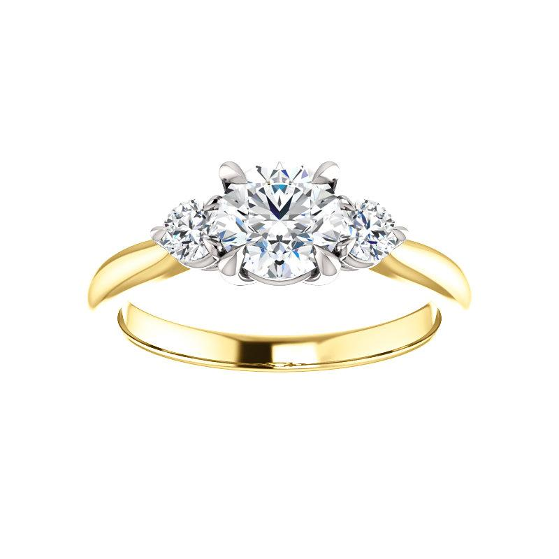 The Tina Round Moissanite Engagement Threestone Ring Setting Yellow Gold with White Prongs