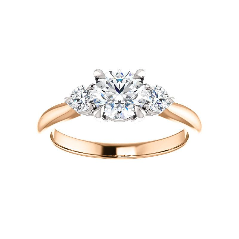 The Tina Round Moissanite Engagement Threestone Ring Setting Rose Gold with White Prongs