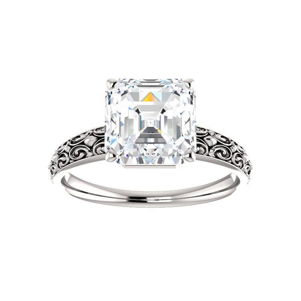 The Jolie Asscher Moissanite Engagement Ring Solitaire Setting White Gold