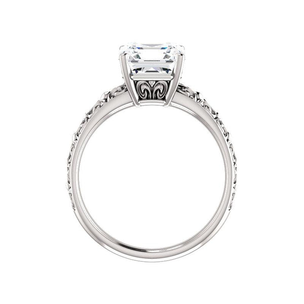 The Jolie Asscher Moissanite Engagement Ring Solitaire Setting White Gold Side Profile