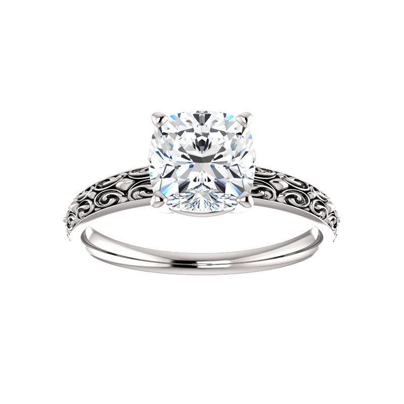The Jolie Cushion Moissanite Engagement Ring Solitaire Setting White Gold