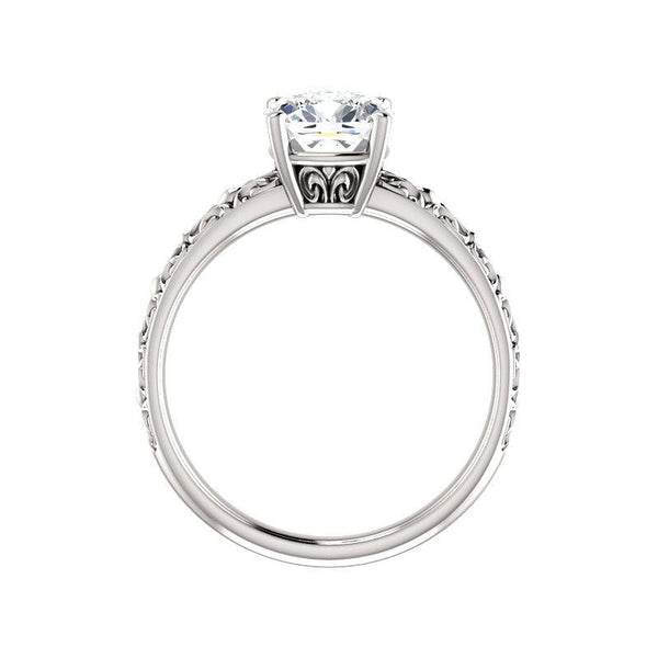 The Jolie Cushion Moissanite Engagement Ring Solitaire Setting White Gold Side Profile