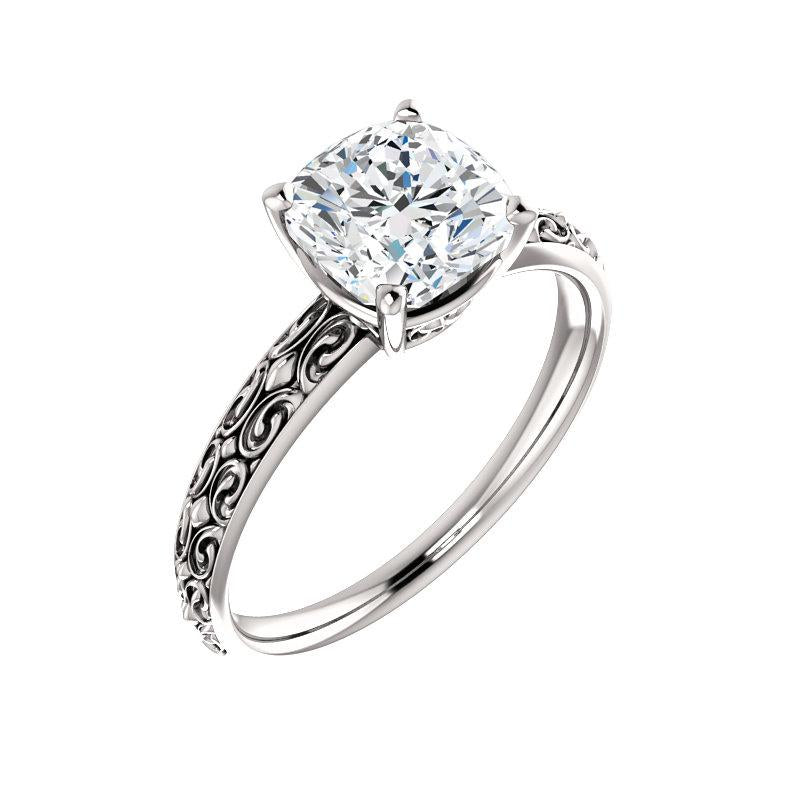 The Jolie Cushion Moissanite Engagement Ring Solitaire Setting White Gold With Matching Band