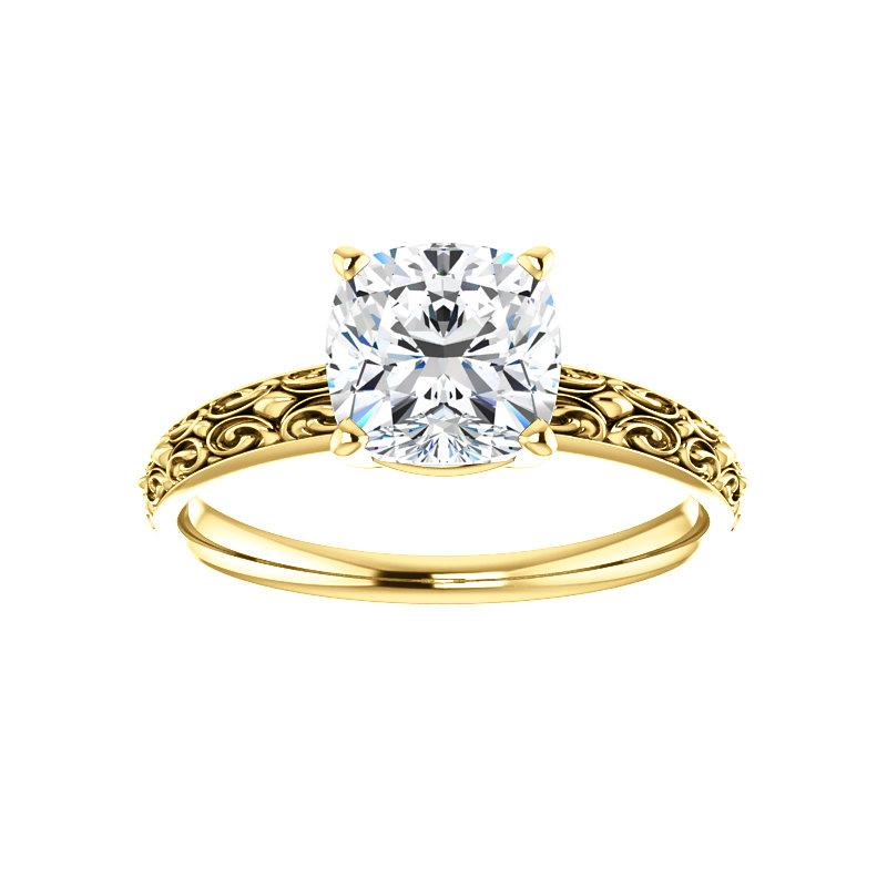 The Jolie Cushion Moissanite Engagement Ring Solitaire Setting Yellow Gold
