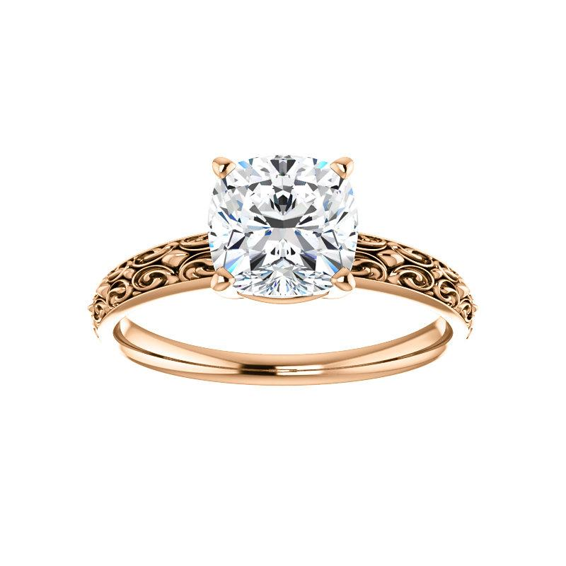 The Jolie Cushion Moissanite Engagement Ring Solitaire Setting Rose Gold