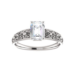 The Jolie Emerald Moissanite Engagement Ring Solitaire Setting White Gold