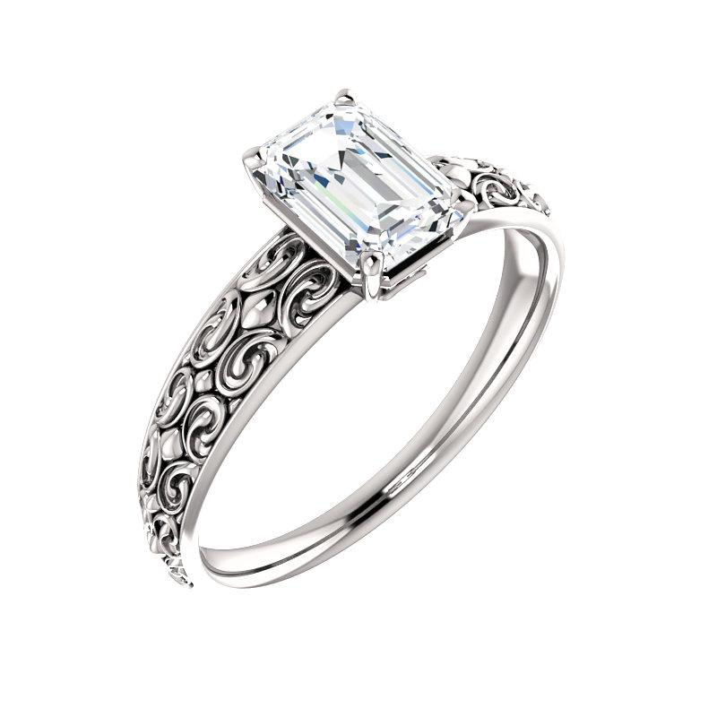 The Jolie Emerald Moissanite Engagement Ring Solitaire Setting White Gold With Matching Band