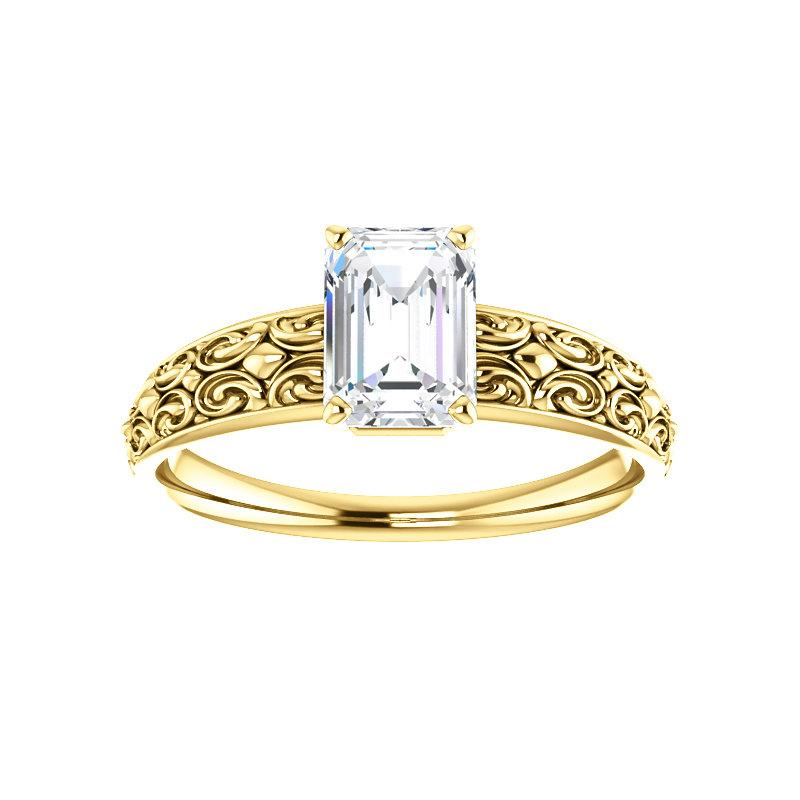 The Jolie Emerald Moissanite Engagement Ring Solitaire Setting Yellow Gold