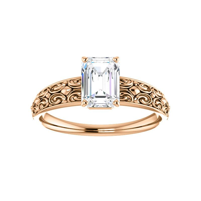 The Jolie Emerald Moissanite Engagement Ring Solitaire Setting Rose Gold