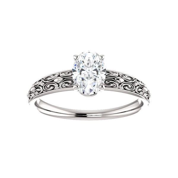 The Jolie Oval Moissanite Engagement Ring Solitaire Setting White Gold