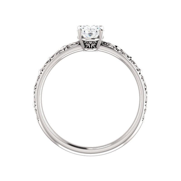 The Jolie Oval Moissanite Engagement Ring Solitaire Setting White Gold Side Profile