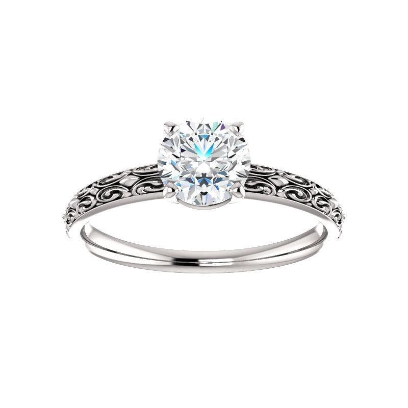The Jolie Round Moissanite Engagement Ring Solitaire Setting White Gold