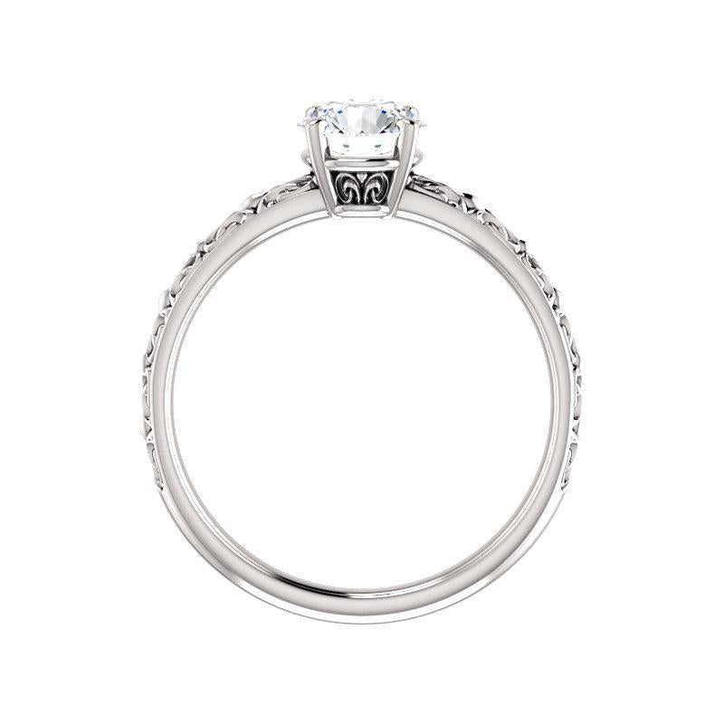 The Jolie Round Moissanite Engagement Ring Solitaire Setting White Gold Side Profile