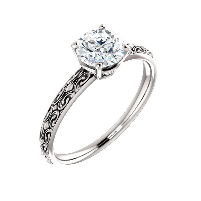The Jolie Round Moissanite Engagement Ring Solitaire Setting White Gold With Matching Band