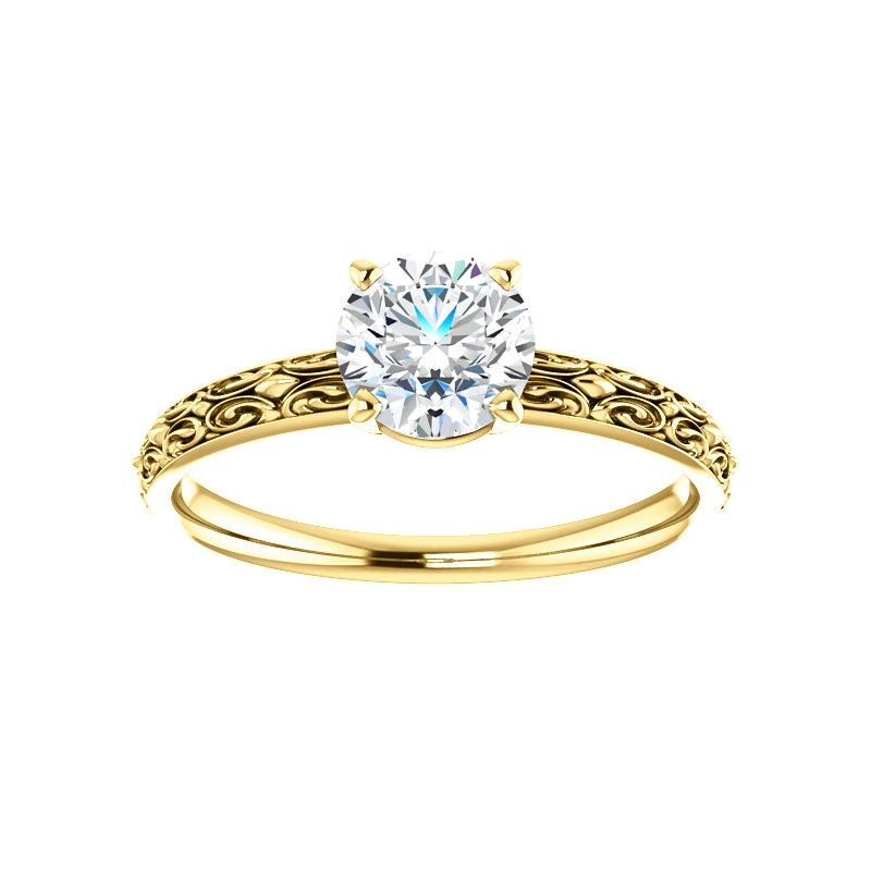 The Jolie Round Moissanite Engagement Ring Solitaire Setting Yellow Gold