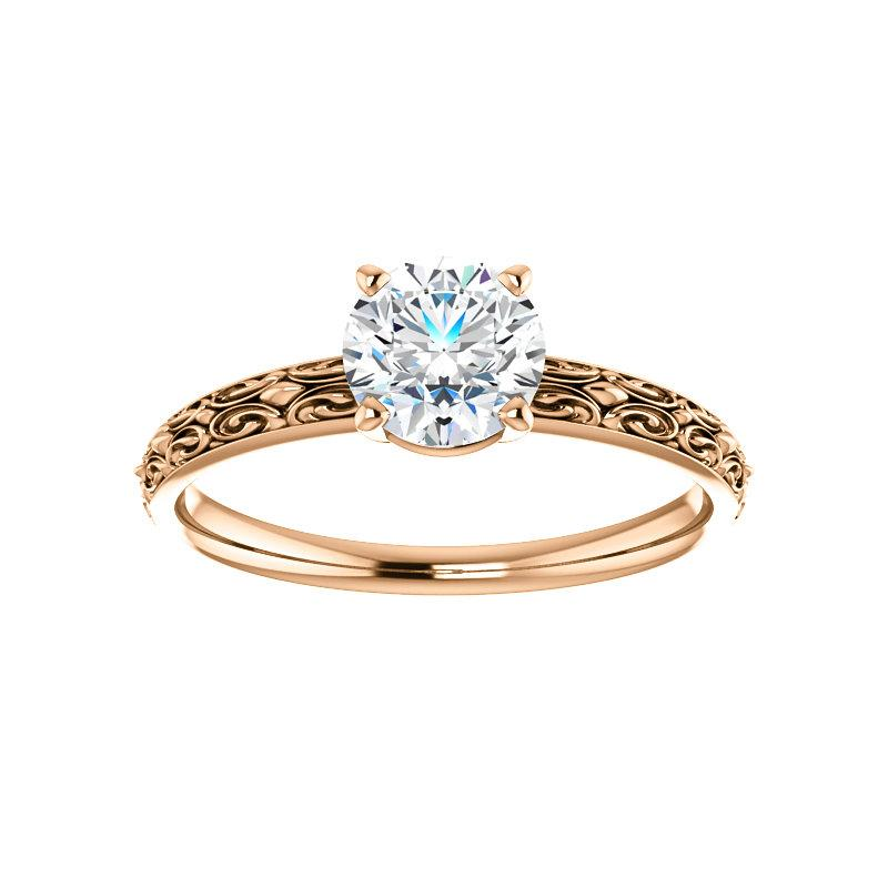 The Jolie Round Moissanite Engagement Ring Solitaire Setting Rose Gold