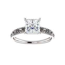 The Jolie Princess Moissanite Engagement Ring Solitaire Setting White Gold