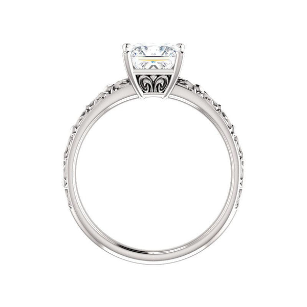 The Jolie Princess Moissanite Engagement Ring Solitaire Setting White Gold Side Profile