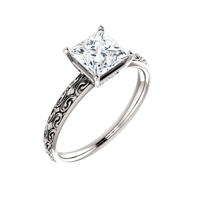 The Jolie Princess Moissanite Engagement Ring Solitaire Setting White Gold With Matching Band