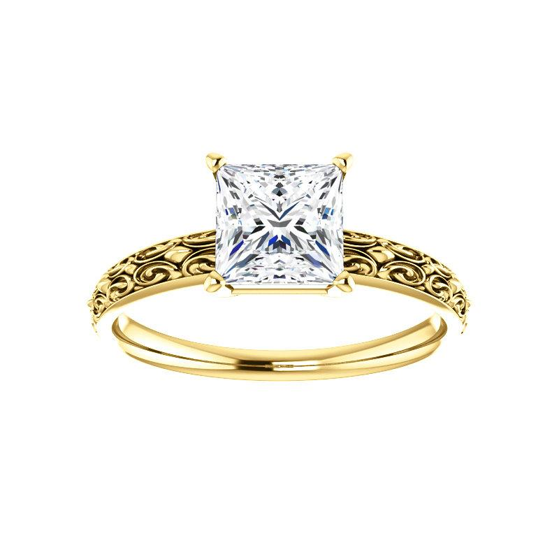 The Jolie Princess Moissanite Engagement Ring Solitaire Setting Yellow Gold