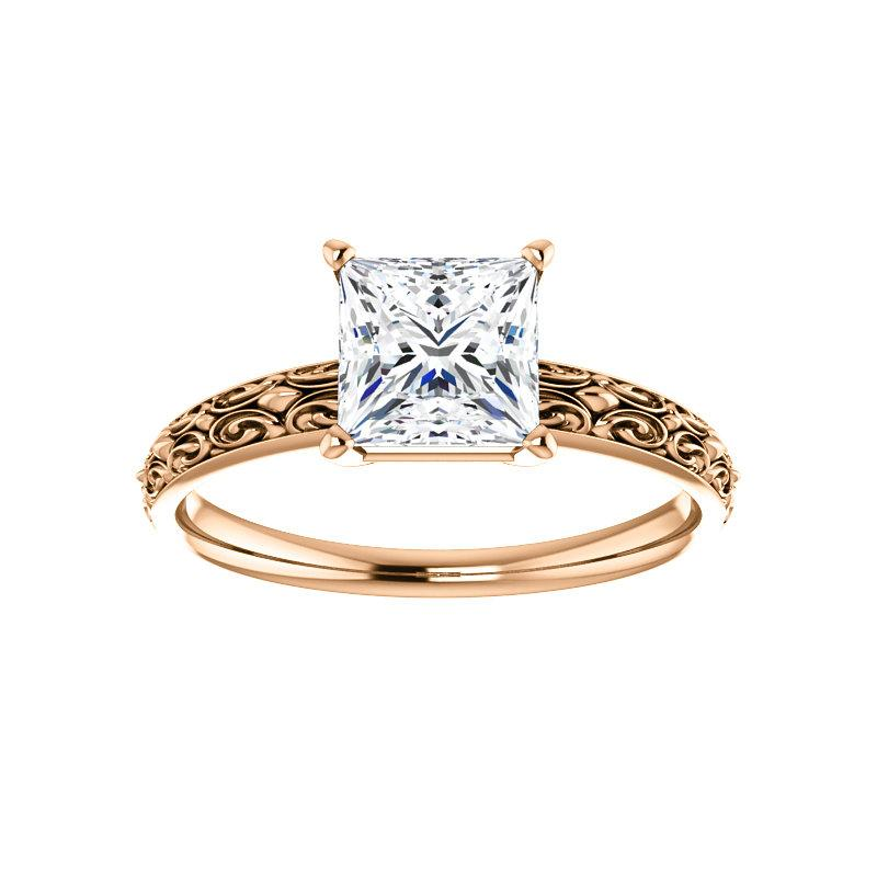 The Jolie Princess Moissanite Engagement Ring Solitaire Setting Rose Gold