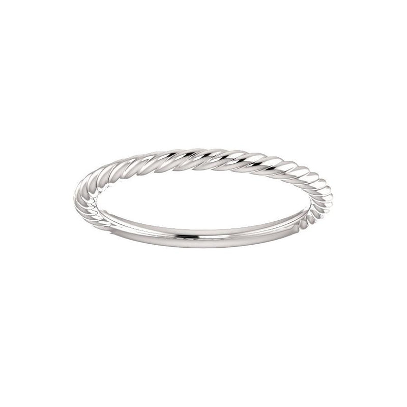 The Lacey Band Rope Design Wedding Ring In White Gold
