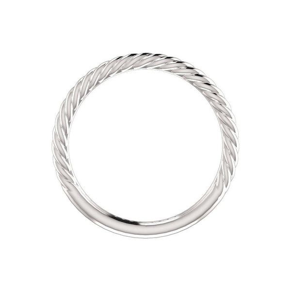 The Lacey Band Rope Design Wedding Ring In White Gold Profile