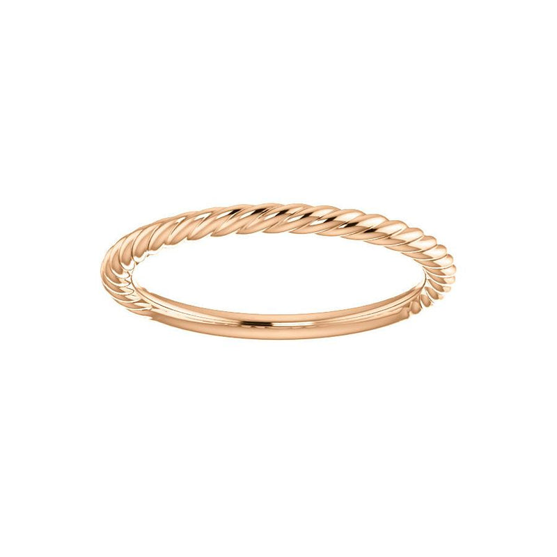 The Lacey Band Rope Design Wedding Ring In Rose Gold